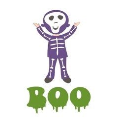 Boocard with a boy dressed like skeleton vector image vector image