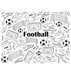 Football colorless set vector image