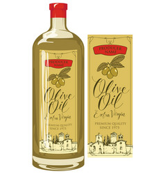 label for olive oil with countryside landscape vector image vector image