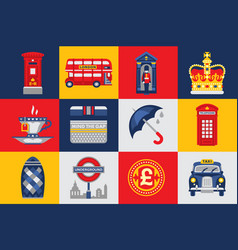 london icons set traditions symbols of england vector image