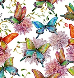 retro seamless texture with of flying butterflies vector image vector image