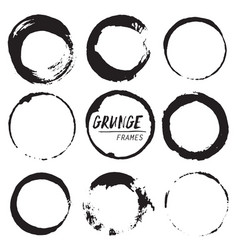 set of round grunge shapes vector image