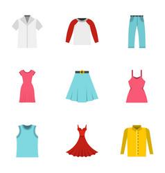 wardrobe icons set flat style vector image