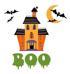 Boo card with haunted house vector image vector image