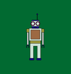 Flat icon design collection robot toy with antenna vector