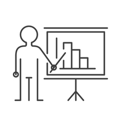 Presentation sign teacher icon man standing with vector