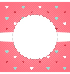 Red template card with blue red and white hearts vector image vector image