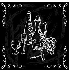 Restaurant or bar wine list on chalkboard vector image