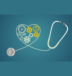 stethoscope in the shape of a heart with gears vector image vector image