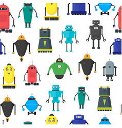 cartoon cute toy robots background pattern vector image