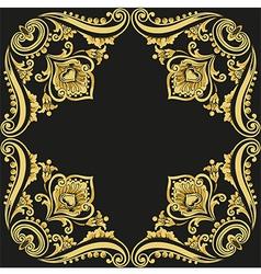 gold pattern black background vector image vector image