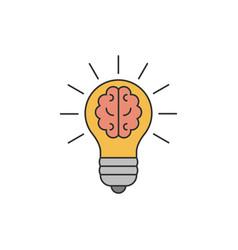 light bulb with a brain inside flat line vector image