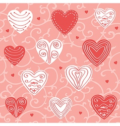 Red and pink floral ornament vector image
