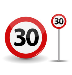 round red road sign speed limit 30 kilometers per vector image