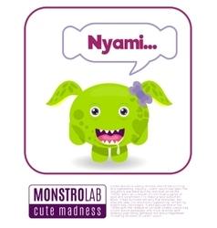 a monster saying nyami vector image vector image