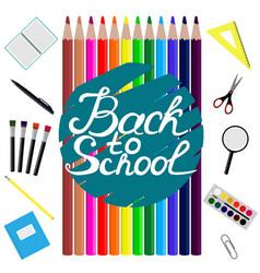 back to school design set of school supplies with vector image vector image