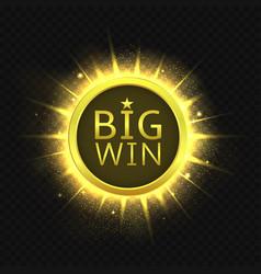 big win golden label vector image vector image