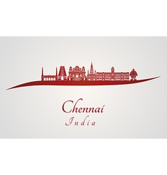 Chennai skyline in red vector image