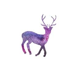 Cosmic deer Watercolor galaxy deer on the white vector image vector image