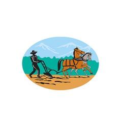 Farmer and Horses Plowing Field Cartoon vector image vector image
