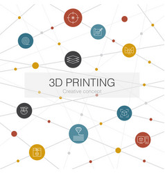 3d printing trendy web template with simple icons vector