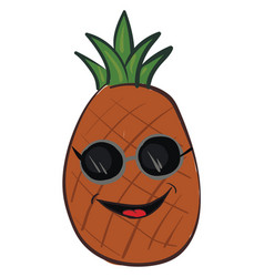 A laughing cartoon pineapple whole fruit vector
