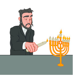 A man lighting the candles on menorah hanukkah vector