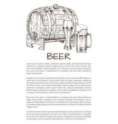 Ale barrel and refreshing drink hand drawn poster vector