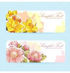 Beautiful flower sticker postcards vector image