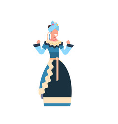 Beautiful mexican female in traditional clothes vector