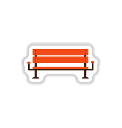 Bench icon in paper sticker style vector