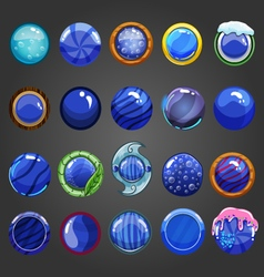 Big set of round blue button vector