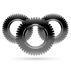 black cogwheel rack wheel pinion graphics vector image