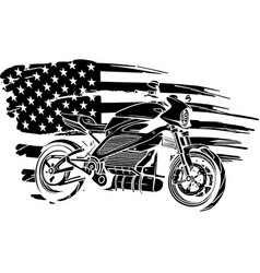 black silhouette american flag with bike vector image