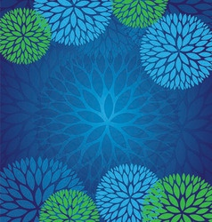 Blue Green Abstract Flower Pattern Background vector image