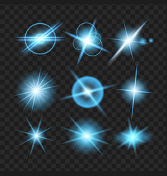 Blue shine stars with glitters effect graphic vector