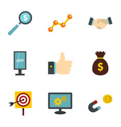 Business company icons set flat style vector