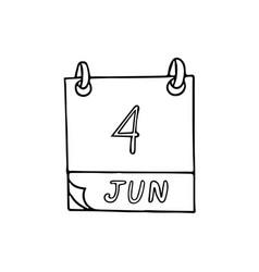 Calendar hand drawn in doodle style june 4 vector
