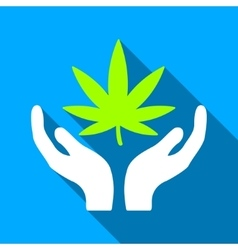 Cannabis Care Flat Long Shadow Square Icon vector image