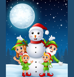 Cartoon christmas elves with snowman in the winter vector