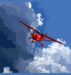 cartoon red little plane flies on the border vector image
