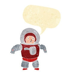 Cartoon space man with speech bubble vector