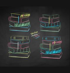 chalk drawn set piles books vector image