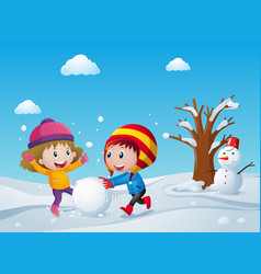 Children playing on the snow field vector