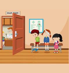 Children wait in front of exam room vector