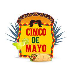 Cinco de mayo icon with enchiladas meal vector