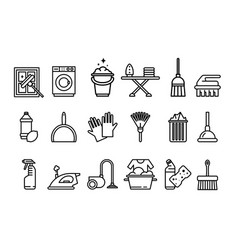 cleaning icons set washing machine ironing vector image