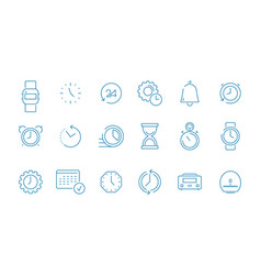 clock pictogram set fast time management computer vector image