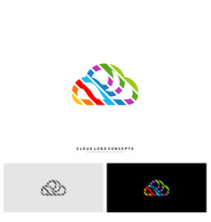 colorful cloud logo design concept cloud paint vector image