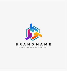 Colorful hexagon letter y logo design vector